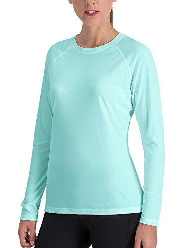 NAVISKIN Camiseta Deportiva para Mujer Protección UV UPF 50+ Manga Larga Cuello Redondo Elástica Térmica Casual Transpirable Verde S