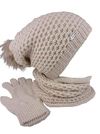 4b59d437a60d17 AMALTEA TEA 3 teiliges Damen Winterset Schal Mütze Handschuhe (beige ...