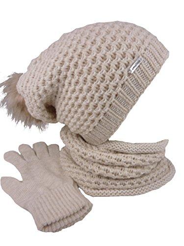 TEA 3 teiliges Damen Winterset Schal Mütze Handschuhe (beige camel)