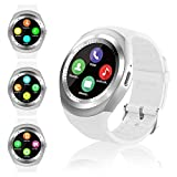 Montre Connectée Femmes Homme Enfant Smartwatch écran Tactile Rond Soutien Carte SIM Bracelet Connecté Podometre Sport Smart Watch pour Android iOS iPhone Samsung Huawei Xiaomi Smartphone (Blanc)