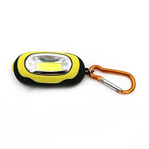 PoeHXtyy Tragbarer Mini Cob LED Taschenlampe Schlüsselanhänger handliche Lampe Karabiner Camping, Gelb, 01
