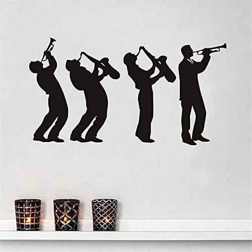 Zxfcczxf 4 Musiker Wandaufkleber Kreative Musik Gruppe Art Design Jungen Spielen Saxophon Silhouette Wandtattoos Decor Wohnzimmer 80 * 43 Cm