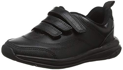 Clarks Jungen Hula Thrill Sneaker, Schwarz (Black Leather), 33.5 EU (Jungen Für Kommunion Schuhe)