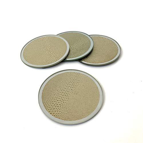 S/4 Vintage Gold strukturierte verspiegelte Glasuntersetzer für Getränke, Kaffeetassen, Tischuntersetzer