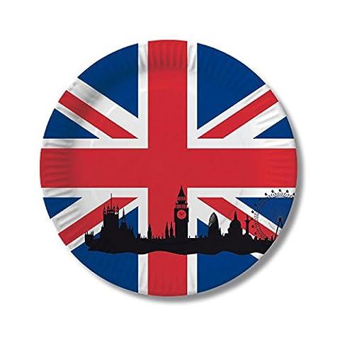 NEU Teller England, 10 Stk, Ø 23 cm (Großbritannien Kostüm)