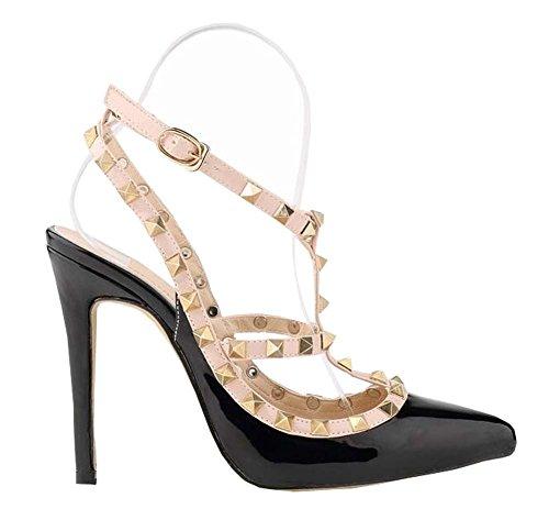 Mode sexy Nieten hochhackigen Sandalen Damen Schuhe Schwarz