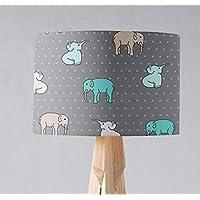 Pantalla de lámpara gris con diseño de elefante multicolor, lámpara de mesa o de techo