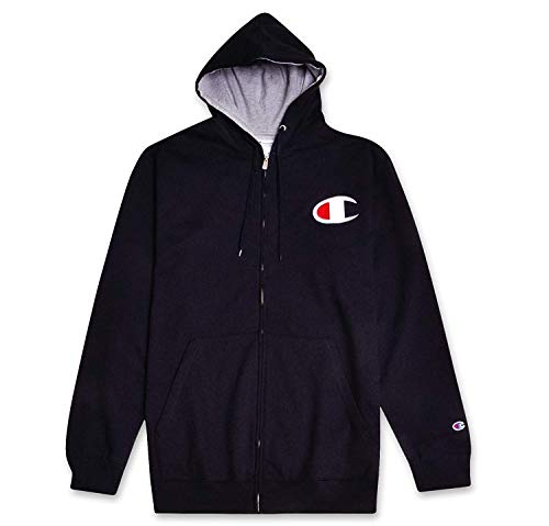 Champion Mens Big & Tall Retro Full-Zip Fleece Hoodie Sweatshirt Black Heather Grey 2X-Large Retro Full Zip Hoodie