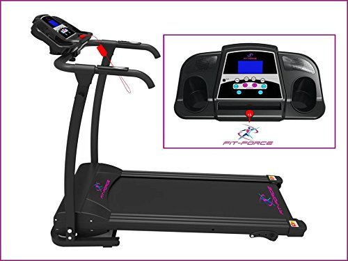Fit-Force Cinta de Correr Plegable 1500W 0-14 kmph Entrada MP3 y Dos Altavoces sujeta iPad
