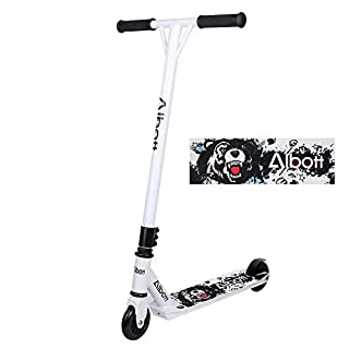 Albott Kick Scooters - 360 Spin Tricks Freestyle T Shape Stunt Scooter Decks Aluminum with Stable Performance for Beginner and Intermediate Riders (Black-White)