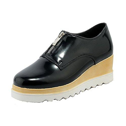 VogueZone009 Femme à Talon Haut Matière Souple Couleur Unie Zip Carré Chaussures Légeres Noir