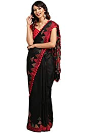 Womanista Cotton Saree with Blouse Piece (FSP747_Black_Onesize)
