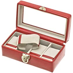 """Davidt's Unisex Watch Box For 4 Watches """"Chrome"""" 378804.14 Red"""