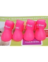 Ltuotu 6 colores para perros pequeños zapatos del perro del color del caramelo zapatos para la lluvia chanclos antes y después de la serie de cuatro patas (rosa, L)