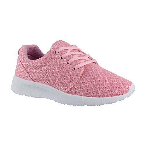 Elara Damen Herren Sneaker | Unisex Sport Laufschuhe | Fitness Runner | Turnschuhe | Chunkyrayan FC-V21 Pink-41