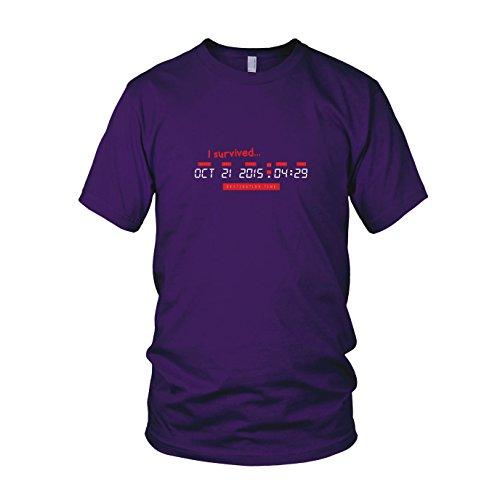 BTTF: I survived Destination Time - Herren T-Shirt, Größe: XXL, Farbe: lila