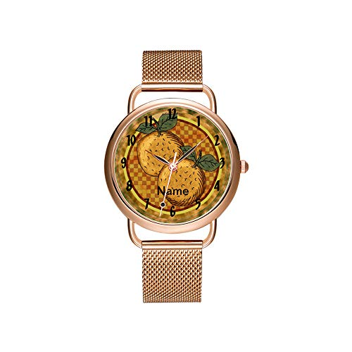 amen Mesh Gürtel Ultradünne Uhr wasserdichte Uhr Quarzuhr Weihnachten Benutzerdefinierte Name Orangen Armbanduhr ()