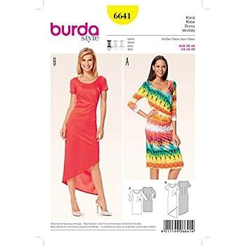 Burda Damen Schnittmuster 6641 Plissee Taille Jersey Kleider