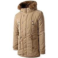 UJUNAOR Männer Hoodie Mantel Lässiger Langer Pelzkragenmantel mit Kapuze Reißverschluss Knopf Tasche Winter