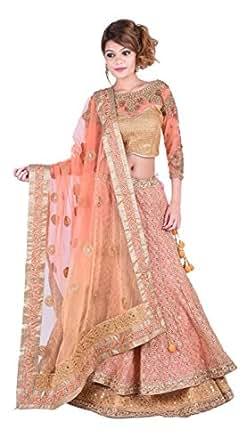 DRESSLINE Women's Net Lehenga Choli (DL120, Peach Golden, Free Size)