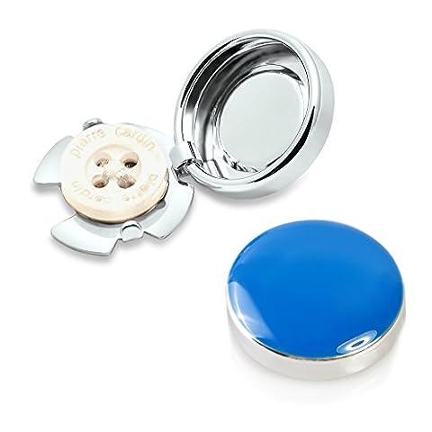 Blaues Knopfclips - Die Alternative für Manschettenknöpfe für gewöhnliche Hemden (Standard - (Clip Navy Tie Clip)