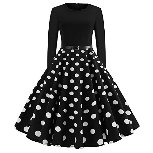 leider, Weihnachtsmode Frauen Langarm O Hals Abend Dot Printing Exquisite Cartoon Print Party Prom Swing Kleid Festival Karneval Cocktailkleid(U-Schwarz1,Small) ()