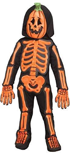 Jungen Mädchen Pumpkin Skelett Jack O Laterne Halloween Kostüm Kleid Outfit - Schwarz, 3-4 Years ()
