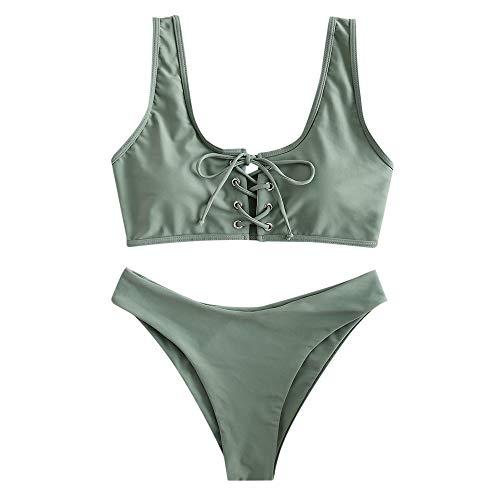 ZAFUL Damen Schnürung Sport Bikini mit U-Ausschnitt Sommer Beachwear Badeanzug Swimwear(Tarnung Grün S)