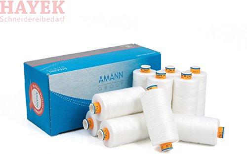 AMANN Nähgarn - Stärke 50 - Weiss - 10 x 500m - Leder & Jeans - Nähmaschinengarn - Universal Nähgarn