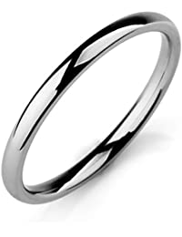 MunkiMix Ancho 2mm Acero Inoxidable Banda Venda Anillo Ring El Tono De Plata Alianzas Boda Hombre,Mujer