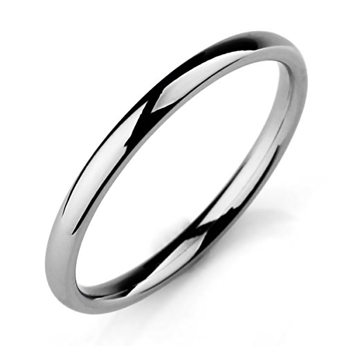 MunkiMix Width 2mm Stainless Steel Band Band Ring Ring Silver Tone Wedding Bands Size Size 17 Man, Woman