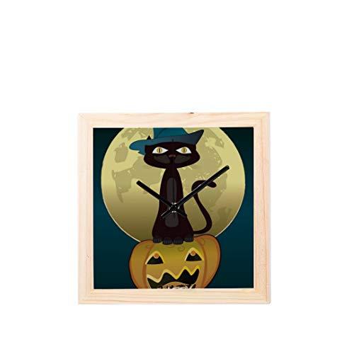 Enhusk Schwarze Katze hexen für Halloween Nicht tickt Platz stille Holz Diamant große Display digital Batterie wanduhren malerei zifferblatt für küche Kind Schlafzimmer Home Office Decor