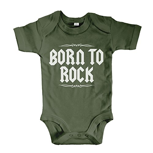 net-shirts Organic Baby Body mit BORN TO ROCK Aufdruck Rock n Roll Heavy Metal Strampler Babybekleidung aus Bio-Baumwolle mit Zertifikat, Größe 3-6 Monate, oliv (Bio-baumwolle Rock)