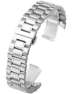 JSDDE massiv Edelstahl Uhrenarmband gebogene Ende Strap massiv Edelstahl Metallarmband mit Schmetterling Schließe...