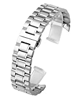 JSDDE Silver 20mm Solid Stainless Steel Curved End Link Bracelet Wrist Watch Band Strap Replacement Butterfly Deployant Buckle Double Push Spring Deployment Clasp 3 Rows Metal Strap