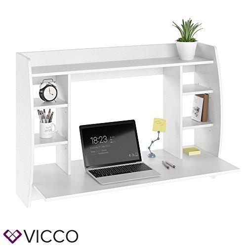VICCO Wandschreibtisch MAX 110 cm - Schreibtisch Wandschrank Wandtisch Bürotisch Arbeitstisch für PC Computer - 3 Dekore (Weiß) -
