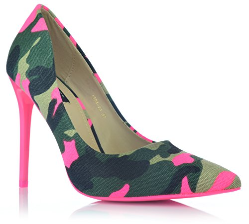 Camouflage High Heels Stiletto Pumps Neonfarben Abendschuhe Party Tarnung 35-40 EUR 37 Pink