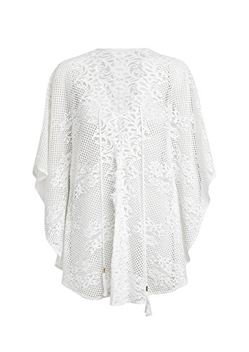Walant Damen Spitze Bauwolle Strandkleid Chiffon Sommerkleider Bikini Cover Up Elegant Weiß-C