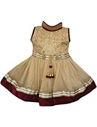 7ecfc424f ALL ABOUT PINKS Dresses for Girls Birthday Dress Ethnic Embellished Dress  in Maroon Velvet and Gold