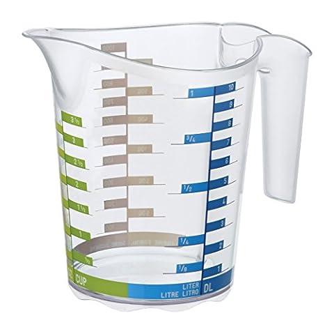 Rotho 1750510379 Messbecher DOMINO aus Kunststoff SAN, transparente Mess-Kanne mit farbiger Skala, BPA-frei, Inhalt 0,5 Liter, ca. 15,8 x 10 x 12,7