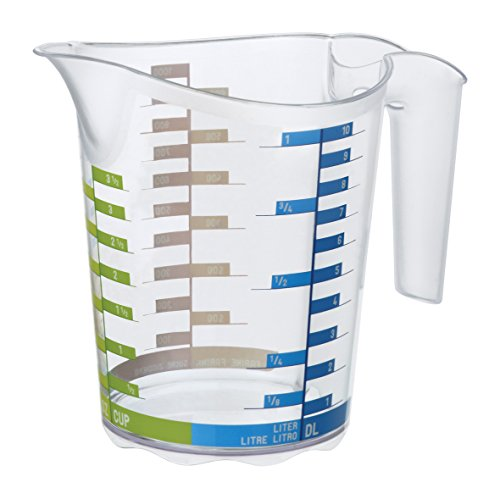 Rotho-recipiente graduato in plastica san, con scala graduata per liquidi, altri, 1 l