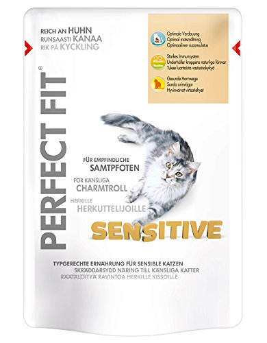 Perfect Fit Sensitive Katzenfutter reich an Huhn in Sauce, 12 Beutel (12 x 85 g)