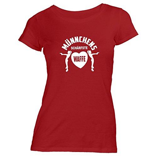Damen T-Shirt - JGA Münchens schärfste Waffe mit Herz - Ladies Junggesellenabschied Rot