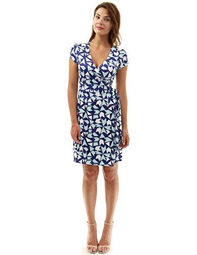 PattyBoutik Damen modisches Alltags Wickelkleid mit V-Ausschnitt und kurzen Ärmeln (dunkelblau, hellblau und weiß 15 S 36/38) V-ausschnitt Blouson