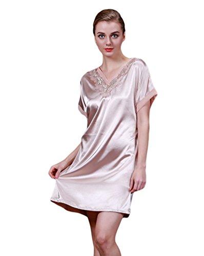 CHENGYANG Femmes Pyjama Satin Chemise de Nuit Couleur Unie Décolleté Dentelle Brun