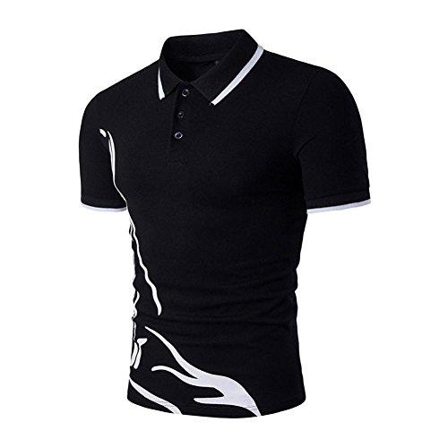 Sommer New Style T-Shirt Für Herrent, Amlaiworld Kurzarm T-Shirt Turn-Down Kragen (S, schwarz)