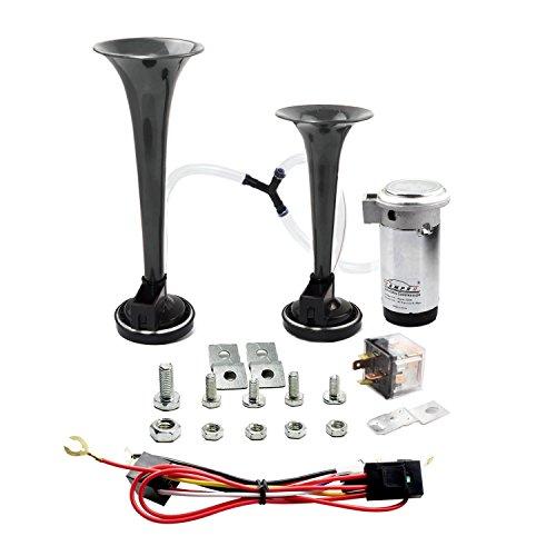 GAMPRO 12V 135db Dual Trompete Air Horn Kit mit zwei Trompeten und Kompressor für LKW Auto SUV RV Van Boot oder andere 12V Fahrzeuge (schwarz)