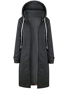 Mujer Invierno Outwear Cremallera Chaqueta Larga Cárdigan Jacket Hoodies Sudadera con Capucha Mangas Largas Chaquetas