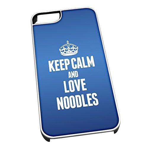 Und Blaue Schalen Nudeln Weiße (Weiß Schutzhülle für iPhone 5/5S 1316blau Keep Calm und Love Nudeln)
