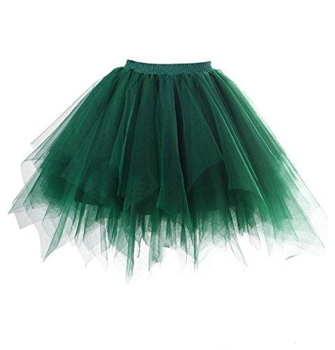 Beyonddress Hochzeit Wedding Unterrok Underskirt Kurz Retro Petticoat Ballett Blase Tutu Ball Kleid(32 Farben) (Tutu Grün)
